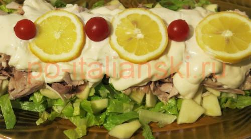 салат из курицы с йогуртовой заправкой