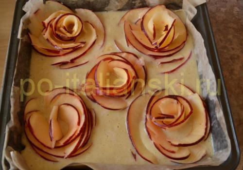 Торт с розами из яблок